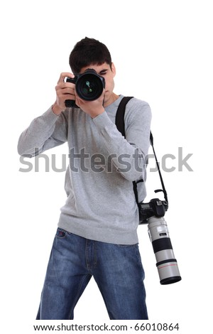 Portrait of male photographer with two professional cameras isolated on white background - stock photo