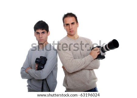 Portrait of male photographers with camera isolated on white background - stock photo
