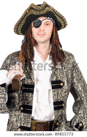 Portrait of man dressed as pirate. Isolated - stock photo