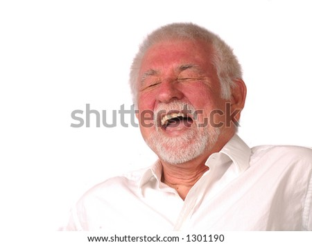 Portrait of man having a big laugh - stock photo