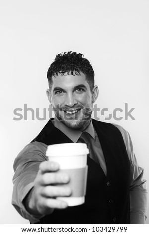 portrait of man holding a paper cup of tea or coffee