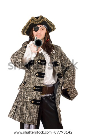 Portrait of man in a pirate costume with pistol. Isolated - stock photo
