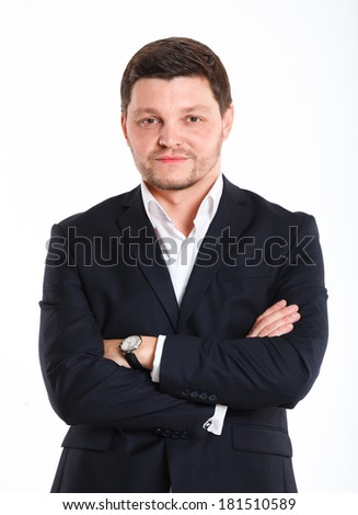 Portrait of man in black suit. Isolated over white background