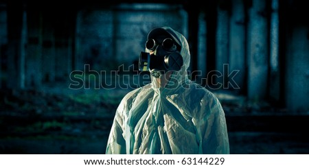 portrait of man in respirator
