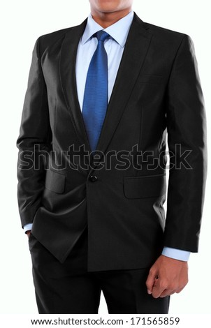 portrait of man in suit on a white background - stock photo