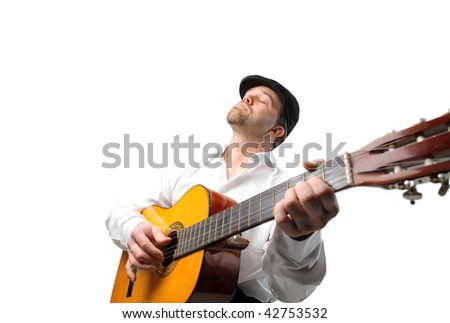 portrait of man playing guitar