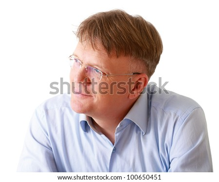 Portrait of  man wearing glasses and looking up, isolated on white background