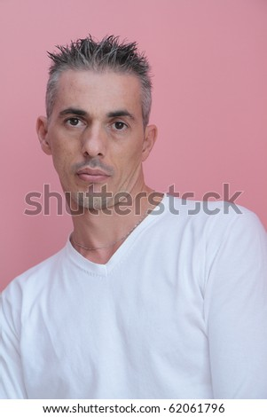 portrait of man with a white T-shirt - stock photo