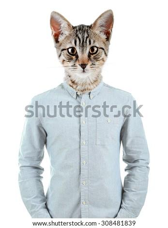 Portrait Of Man With Animal Head - stock photo