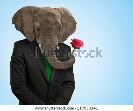 Portrait Of Man With Animal Head On Blue Background - stock photo