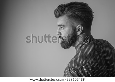 Portrait of man with beard, black and white - stock photo