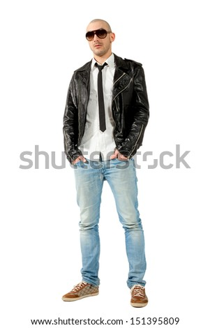 portrait of man with black leather jacket, isolated on white background - stock photo