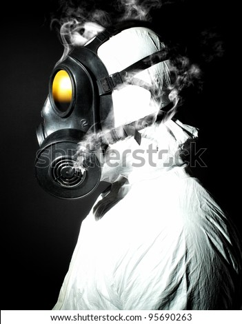 portrait of man with gas mask - stock photo
