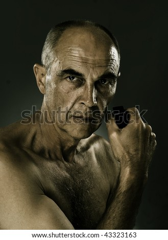 portrait of man with special effects - stock photo