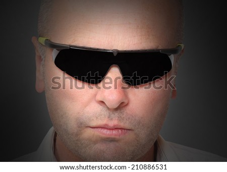 Portrait of man with sunglasses. Picture with space for your picture. - stock photo