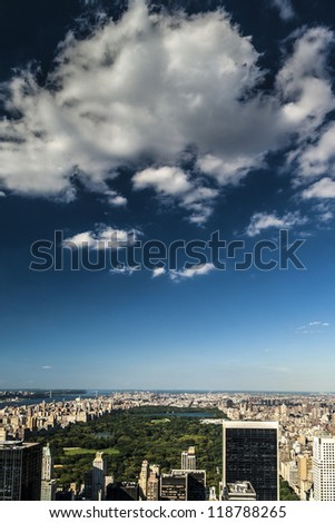 Portrait of Manhattan in New York city, USA over the Central Park on a sunny summer day. - stock photo