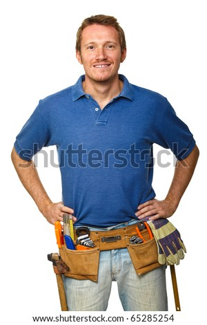 portrait of manual worker  isolated on white - stock photo