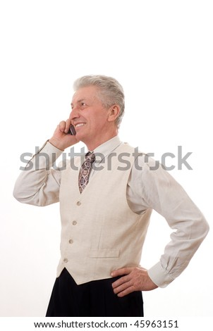 Portrait of mature business man talking on mobile phone
