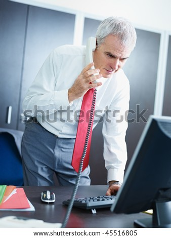 portrait of mature business man talking on the phone, looking at computer screen.