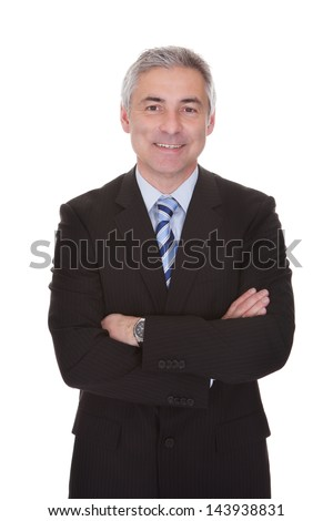 Portrait Of Mature Businessman Isolated Over White Background