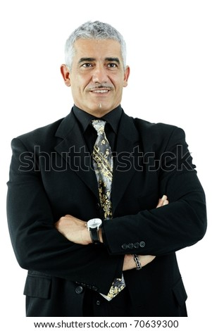 Portrait of mature businessman standing in confident pose, arms crossed. Isolated on white.?