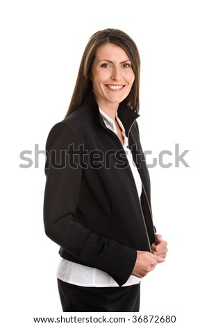 Portrait of mature elegant businesswoman wearing black suit isolated on white background