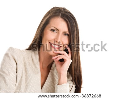 Portrait of mature elegant woman smiling isolated on white background - stock photo