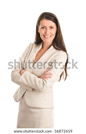 Portrait of mature elegant woman wearing suit isolated on white background