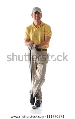 Portrait of mature golfer standing isolated over white background - stock photo