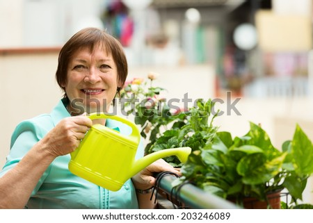 Portrait of mature housewife watering domestic plants on terrace - stock photo