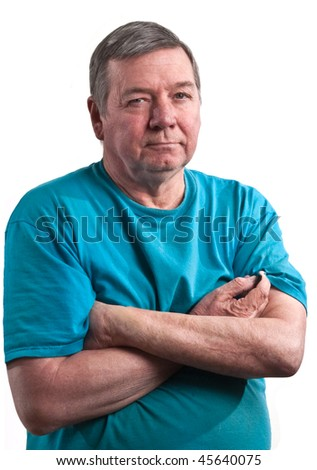 Portrait of mature male with arms crossed, isolated on white background.