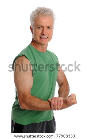 Portrait of mature man flexing biceps isolated over white background - stock photo