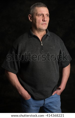 Portrait of mature man thinking, isolated  - stock photo