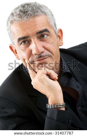 Portrait of mature man thinking, isolated on white background.