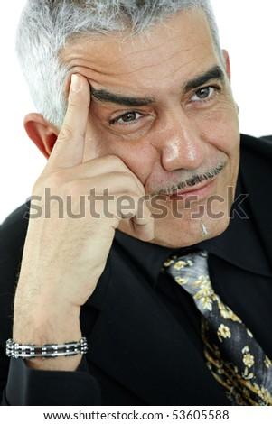 Portrait of mature man thinking, isolated on white background. - stock photo