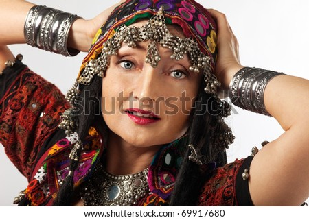 Portrait of mature woman in traditional indian costume