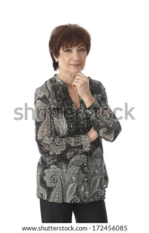 Portrait of mature woman over white background. - stock photo