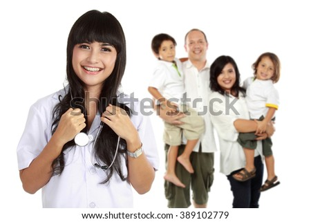 portrait of medical doctor and  patient in the background. healthy family concept - stock photo