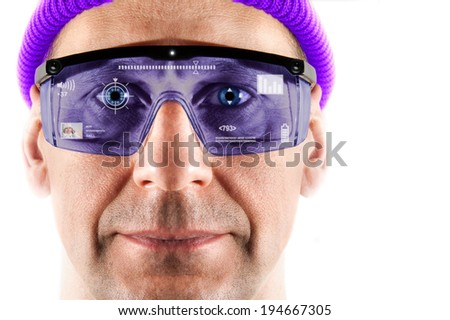 Portrait of men in smart glasses. White background.