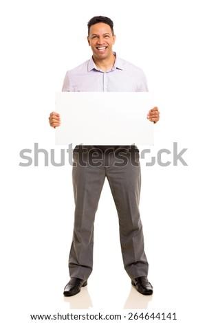 portrait of mid age man presenting white board - stock photo