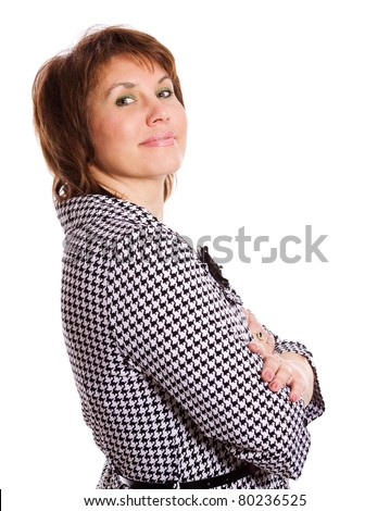 Portrait of Middle age woman isolated on white - stock photo