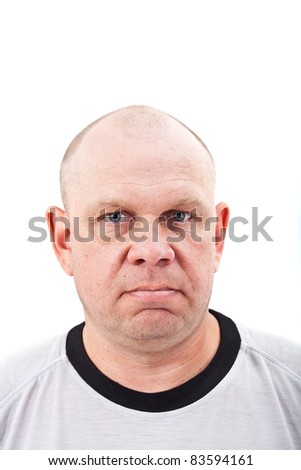 Portrait of middle aged man isolated on white background