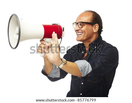 portrait of middle aged man shouting with megaphone over white background - stock photo