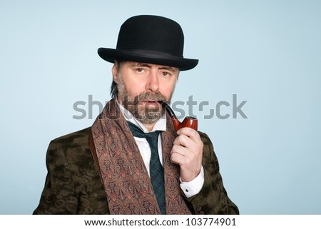 Portrait of middle aged man with a pipe. - stock photo