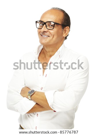 portrait of middle aged man with glasses over a white background - stock photo