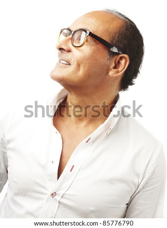 portrait of middle aged man with glasses over white background - stock photo