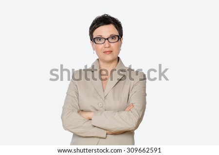 Portrait of middle aged senior respectable business woman with eyeglasses, isolated, horizontal, with copy space