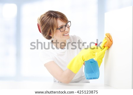 Portrait of middle aged woman holding a spray bottle and sponges in her hand while doing housekeeping. Scrubbing, Spray Bottle, Squeegee,woman doing housekeeping - stock photo