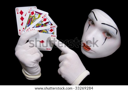 Portrait of  mime with playing cards - stock photo
