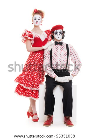 portrait of mimes. beautiful couple in love. isolated on white - stock photo